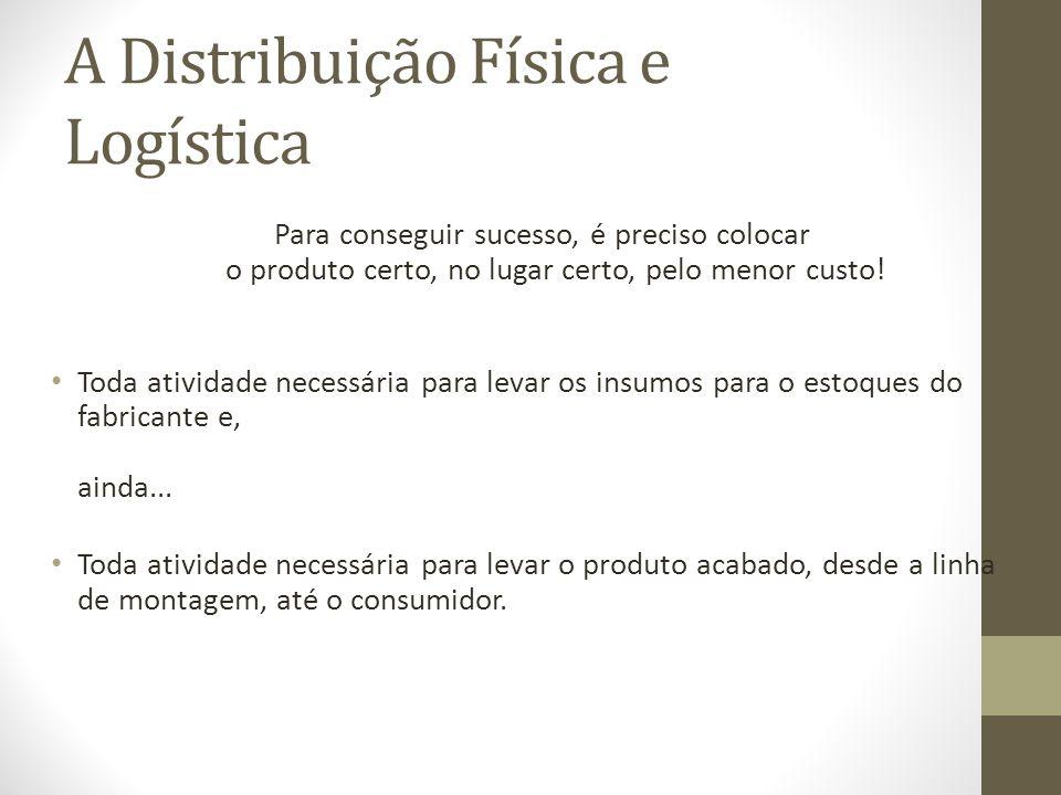 A Distribuição Física e Logística Para conseguir sucesso, é preciso colocar o produto certo, no lugar certo, pelo menor custo.