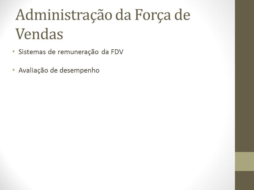 Administração da Força de Vendas Sistemas de remuneração da FDV Avaliação de desempenho