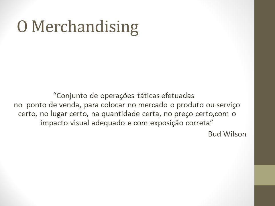 O Merchandising Conjunto de operações táticas efetuadas no ponto de venda, para colocar no mercado o produto ou serviço certo, no lugar certo, na quantidade certa, no preço certo,com o impacto visual adequado e com exposição correta Bud Wilson