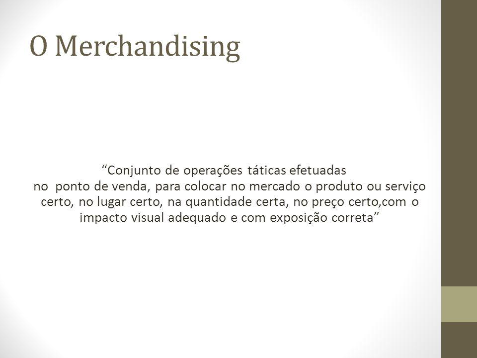 O Merchandising Conjunto de operações táticas efetuadas no ponto de venda, para colocar no mercado o produto ou serviço certo, no lugar certo, na quantidade certa, no preço certo,com o impacto visual adequado e com exposição correta