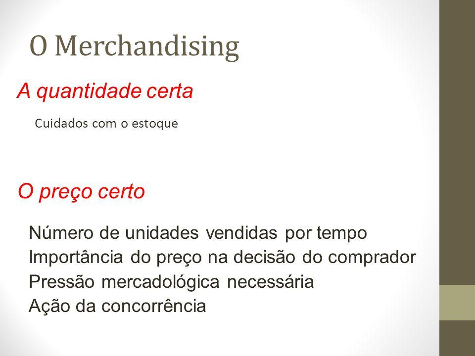 O Merchandising Cuidados com o estoque A quantidade certa O preço certo Número de unidades vendidas por tempo Importância do preço na decisão do comprador Pressão mercadológica necessária Ação da concorrência