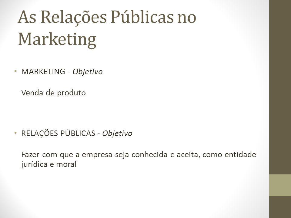 As Relações Públicas no Marketing MARKETING - Objetivo Venda de produto RELAÇÕES PÚBLICAS - Objetivo Fazer com que a empresa seja conhecida e aceita, como entidade jurídica e moral