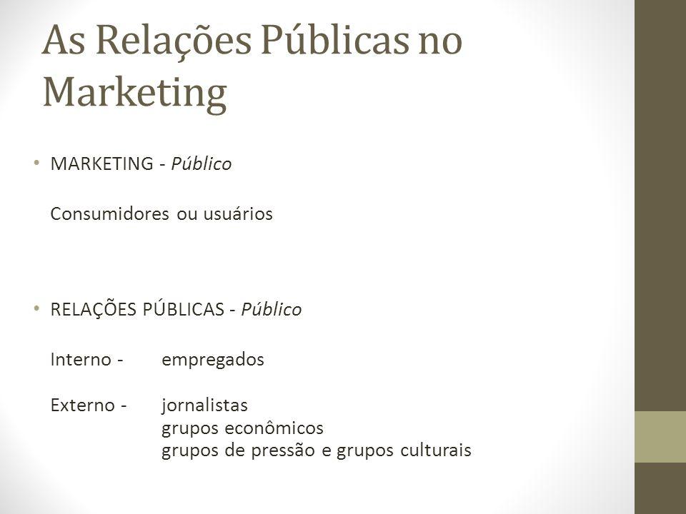 As Relações Públicas no Marketing MARKETING - Público Consumidores ou usuários RELAÇÕES PÚBLICAS - Público Interno -empregados Externo -jornalistas grupos econômicos grupos de pressão e grupos culturais