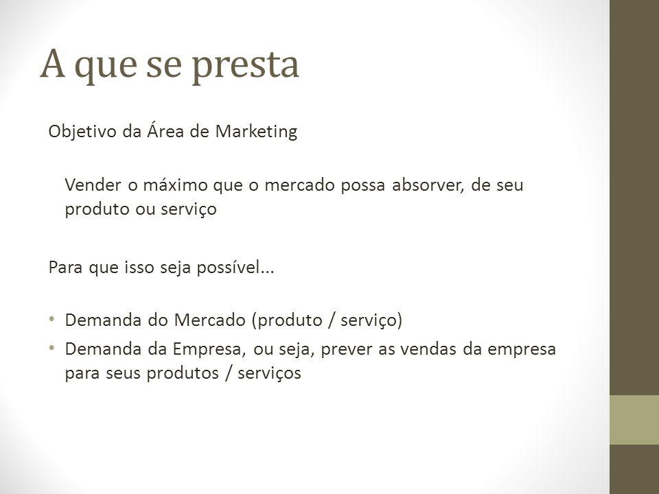 A que se presta Objetivo da Área de Marketing Vender o máximo que o mercado possa absorver, de seu produto ou serviço Para que isso seja possível...