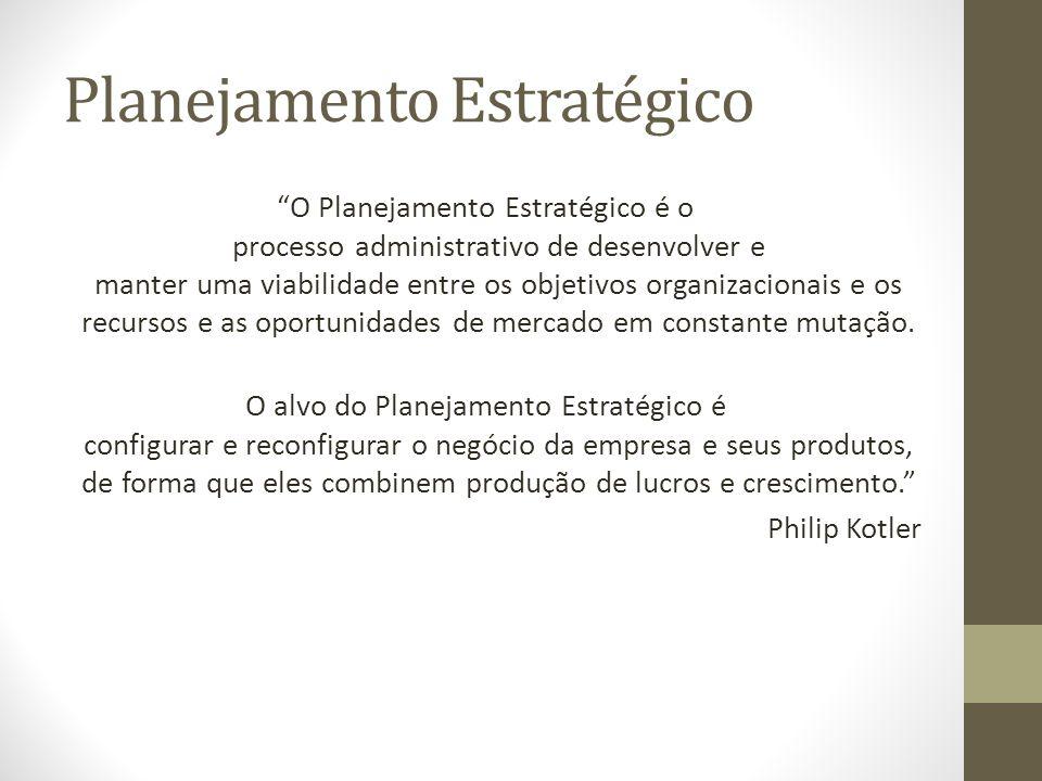 Planejamento Estratégico O Planejamento Estratégico é o processo administrativo de desenvolver e manter uma viabilidade entre os objetivos organizacionais e os recursos e as oportunidades de mercado em constante mutação.