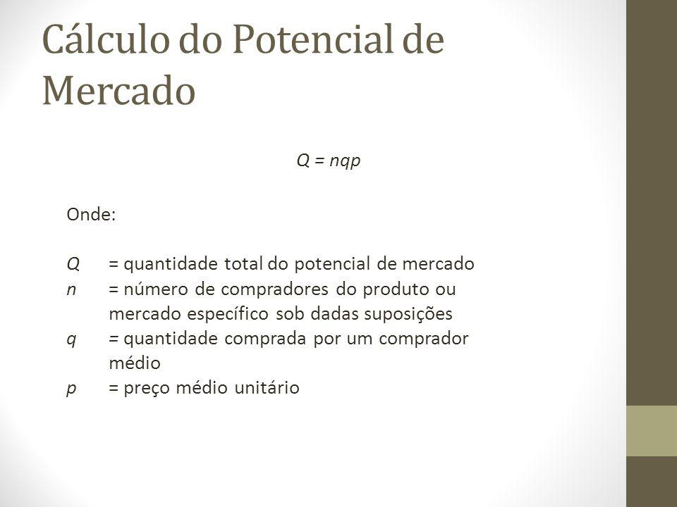 Cálculo do Potencial de Mercado Q = nqp Onde: Q = quantidade total do potencial de mercado n= número de compradores do produto ou mercado específico sob dadas suposições q= quantidade comprada por um comprador médio p= preço médio unitário