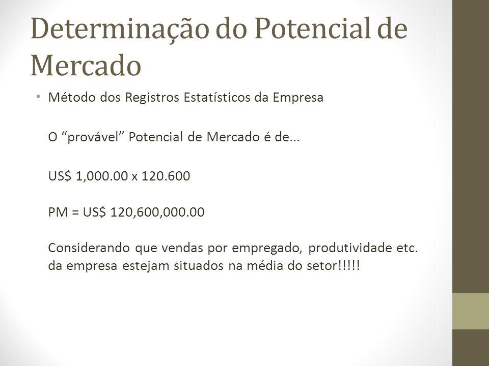 Determinação do Potencial de Mercado Método dos Registros Estatísticos da Empresa O provável Potencial de Mercado é de...
