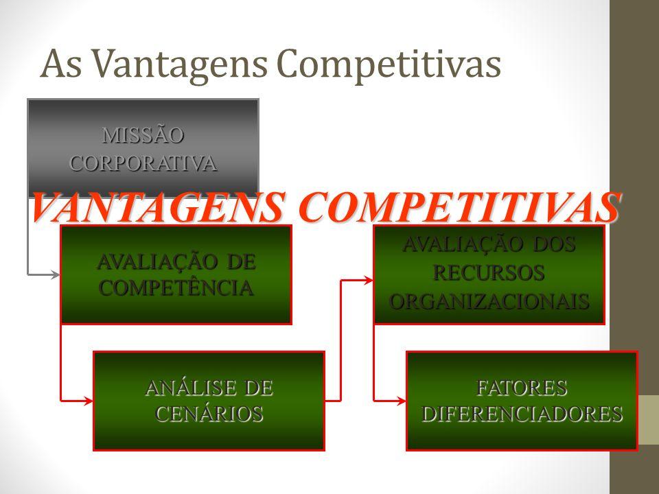As Vantagens Competitivas MISSÃOCORPORATIVA AVALIAÇÃO DE COMPETÊNCIA ANÁLISE DE CENÁRIOS AVALIAÇÃO DOS RECURSOS ORGANIZACIONAIS FATORESDIFERENCIADORES VANTAGENS COMPETITIVAS