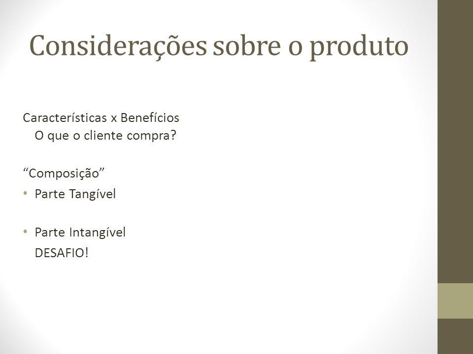 Considerações sobre o produto Características x Benefícios O que o cliente compra.