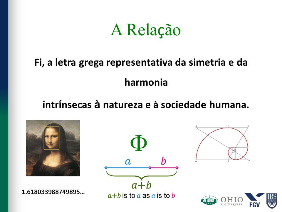 A Rela ç ão Fi, a letra grega representativa da simetria e da harmonia intr í nsecas à natureza e à sociedade humana. 1.618033988749895…