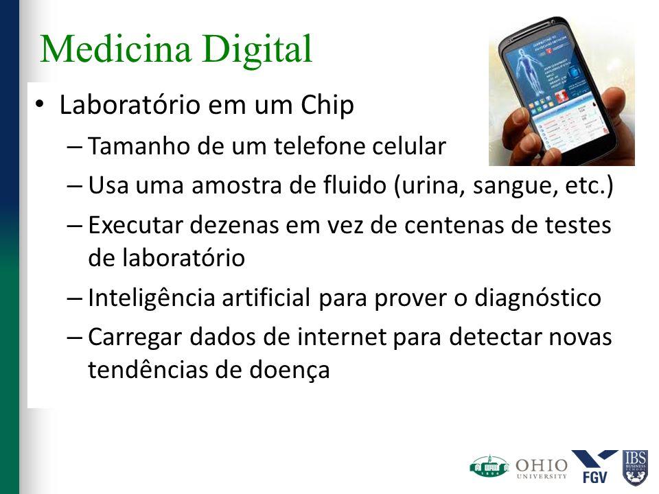Medicina Digital Laboratório em um Chip – Tamanho de um telefone celular – Usa uma amostra de fluido (urina, sangue, etc.) – Executar dezenas em vez d