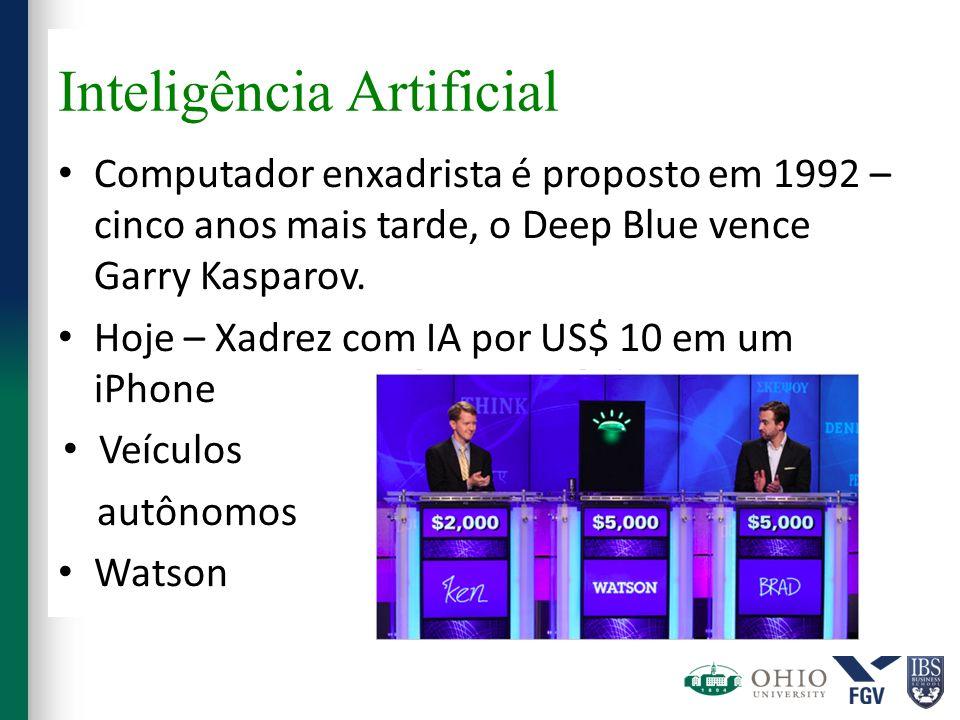 Inteligência Artificial Computador enxadrista é proposto em 1992 – cinco anos mais tarde, o Deep Blue vence Garry Kasparov. Hoje – Xadrez com IA por U