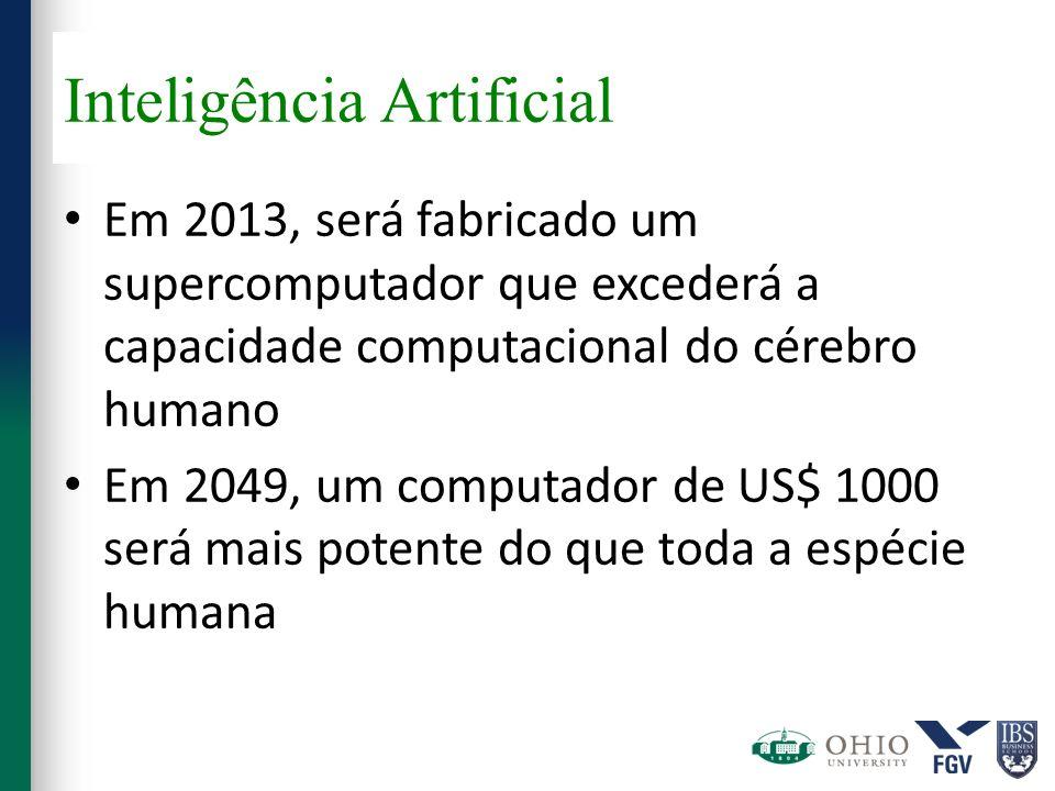 Inteligência Artificial Em 2013, será fabricado um supercomputador que excederá a capacidade computacional do cérebro humano Em 2049, um computador de