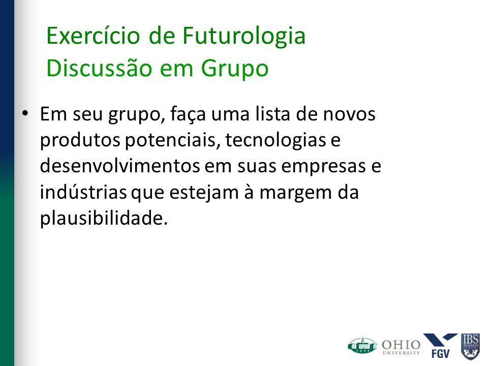 Exercício de Futurologia Discussão em Grupo Em seu grupo, faça uma lista de novos produtos potenciais, tecnologias e desenvolvimentos em suas empresas