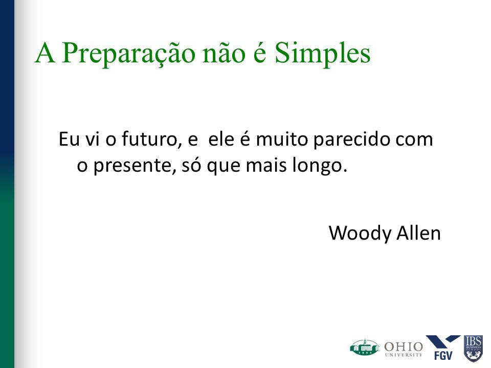 A Preparação não é Simples Eu vi o futuro, e ele é muito parecido com o presente, só que mais longo. Woody Allen