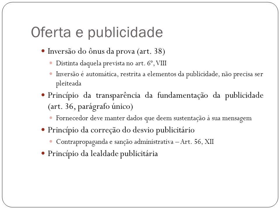 Oferta e publicidade Inversão do ônus da prova (art.
