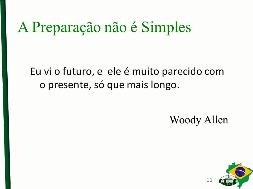 A Preparação não é Simples Eu vi o futuro, e ele é muito parecido com o presente, só que mais longo. Woody Allen 11