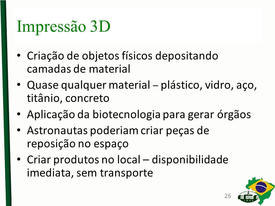 Impressão 3D Criação de objetos físicos depositando camadas de material Quase qualquer material – plástico, vidro, aço, titânio, concreto Aplicação da