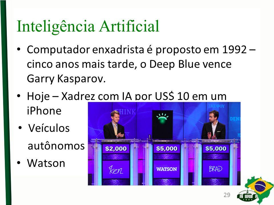Inteligência Artificial Computador enxadrista é proposto em 1992 – cinco anos mais tarde, o Deep Blue vence Garry Kasparov.