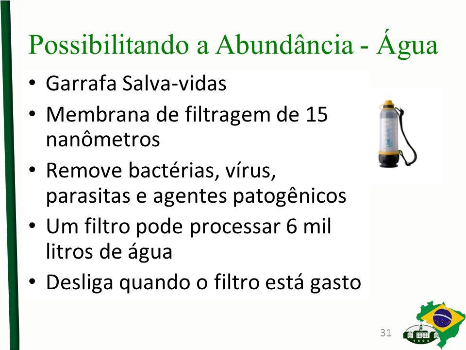 Possibilitando a Abundância - Água Garrafa Salva-vidas Membrana de filtragem de 15 nanômetros Remove bactérias, vírus, parasitas e agentes patogênicos Um filtro pode processar 6 mil litros de água Desliga quando o filtro está gasto 31