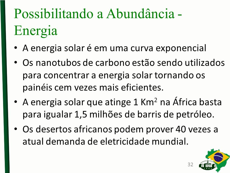 Possibilitando a Abundância - Energia A energia solar é em uma curva exponencial Os nanotubos de carbono estão sendo utilizados para concentrar a energia solar tornando os painéis cem vezes mais eficientes.