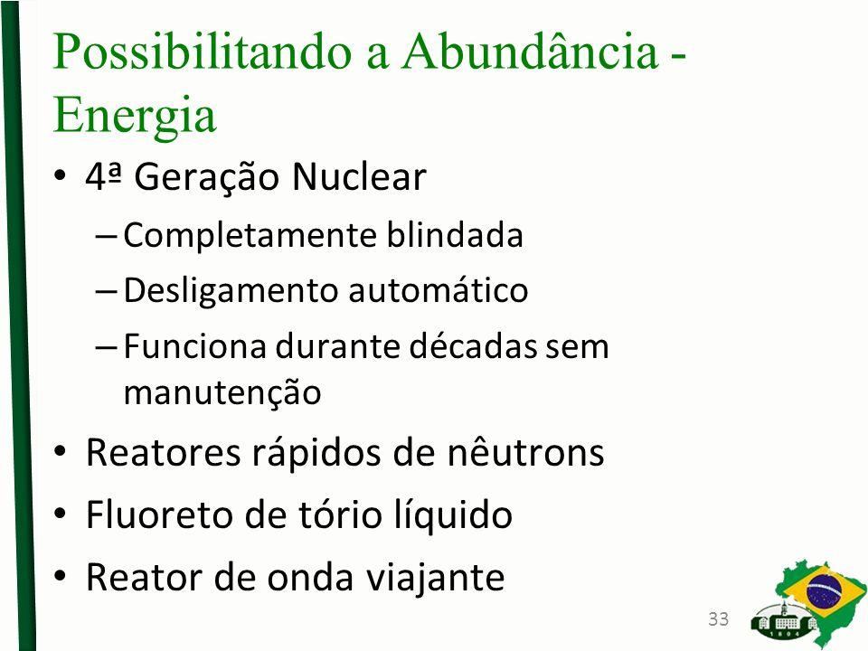 Possibilitando a Abundância - Energia 4ª Geração Nuclear – Completamente blindada – Desligamento automático – Funciona durante décadas sem manutenção Reatores rápidos de nêutrons Fluoreto de tório líquido Reator de onda viajante 33