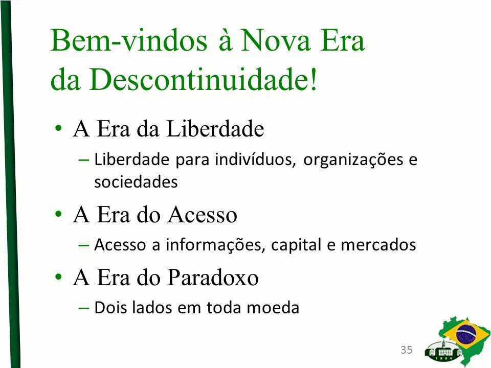 A Era da Liberdade – Liberdade para indivíduos, organizações e sociedades A Era do Acesso – Acesso a informações, capital e mercados A Era do Paradoxo