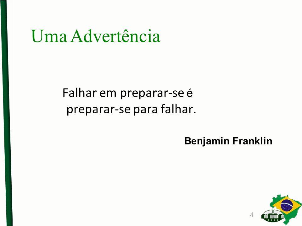 Falhar em preparar-se é preparar-se para falhar. Benjamin Franklin Uma Advertência 4