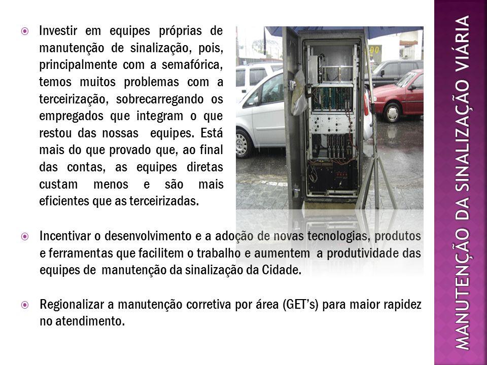Investir em equipes próprias de manutenção de sinalização, pois, principalmente com a semafórica, temos muitos problemas com a terceirização, sobrecar