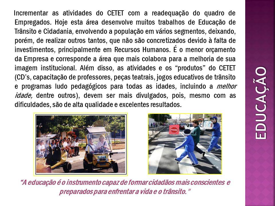 Incrementar as atividades do CETET com a readequação do quadro de Empregados. Hoje esta área desenvolve muitos trabalhos de Educação de Trânsito e Cid