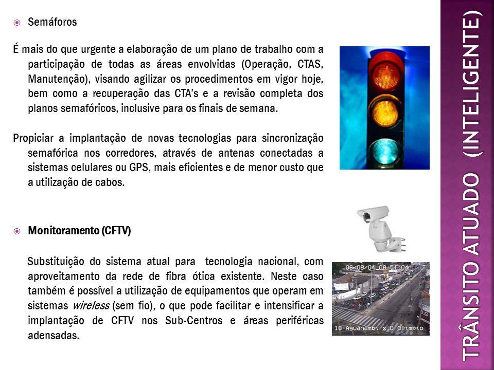 Semáforos Monitoramento (CFTV) Substituição do sistema atual para tecnologia nacional, com aproveitamento da rede de fibra ótica existente. Neste caso