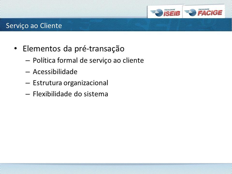 Elementos da pré-transação – Política formal de serviço ao cliente – Acessibilidade – Estrutura organizacional – Flexibilidade do sistema Serviço ao C