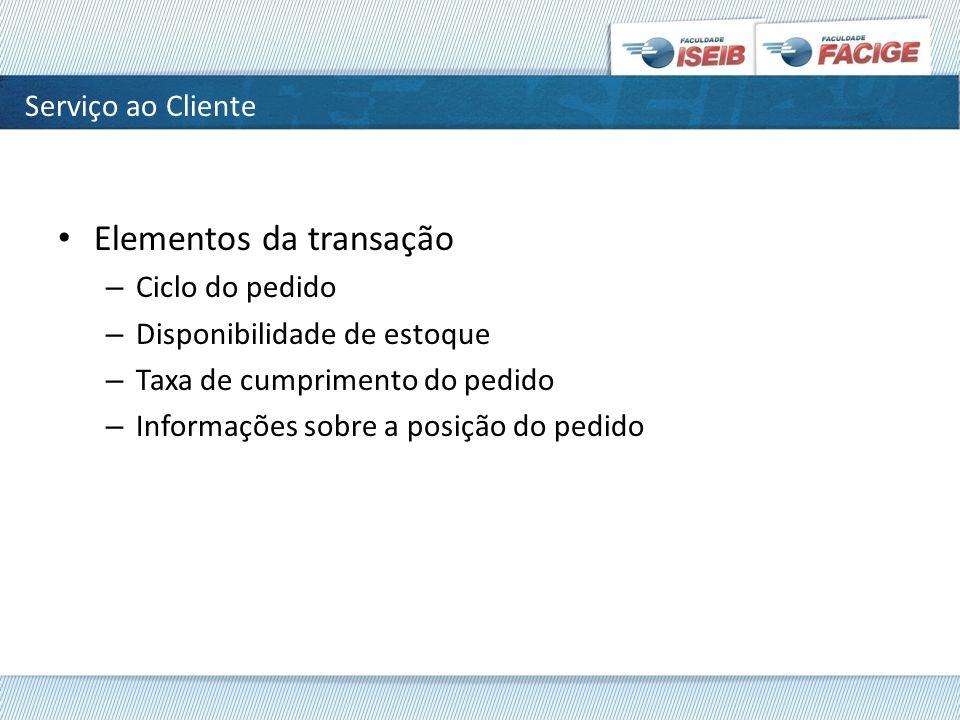 Elementos da transação – Ciclo do pedido – Disponibilidade de estoque – Taxa de cumprimento do pedido – Informações sobre a posição do pedido