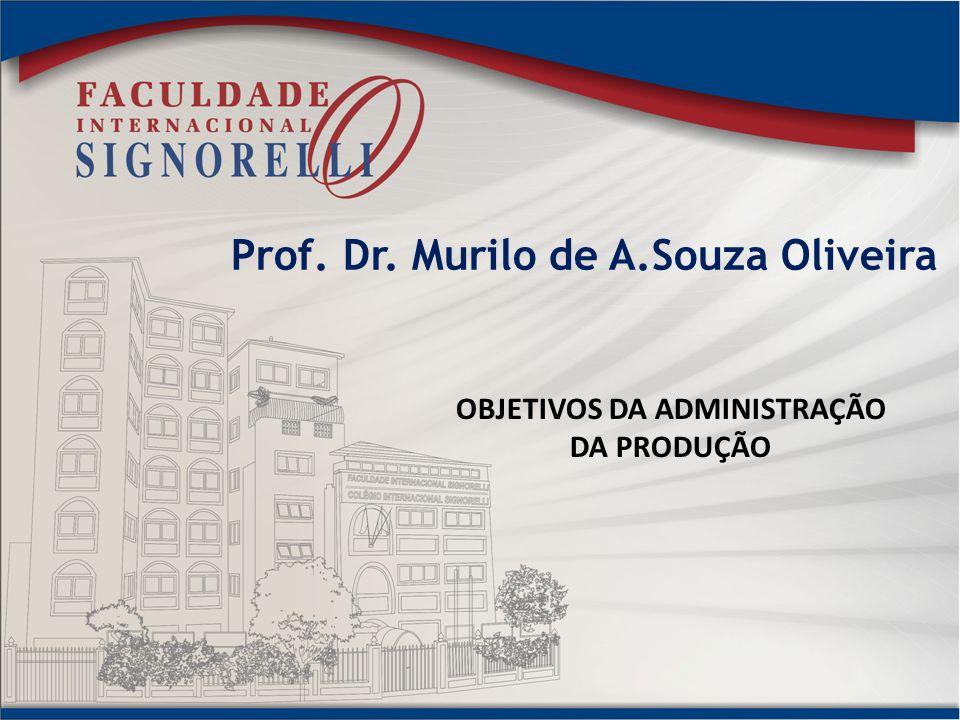 Prof. Dr. Murilo de A.Souza Oliveira OBJETIVOS DA ADMINISTRAÇÃO DA PRODUÇÃO