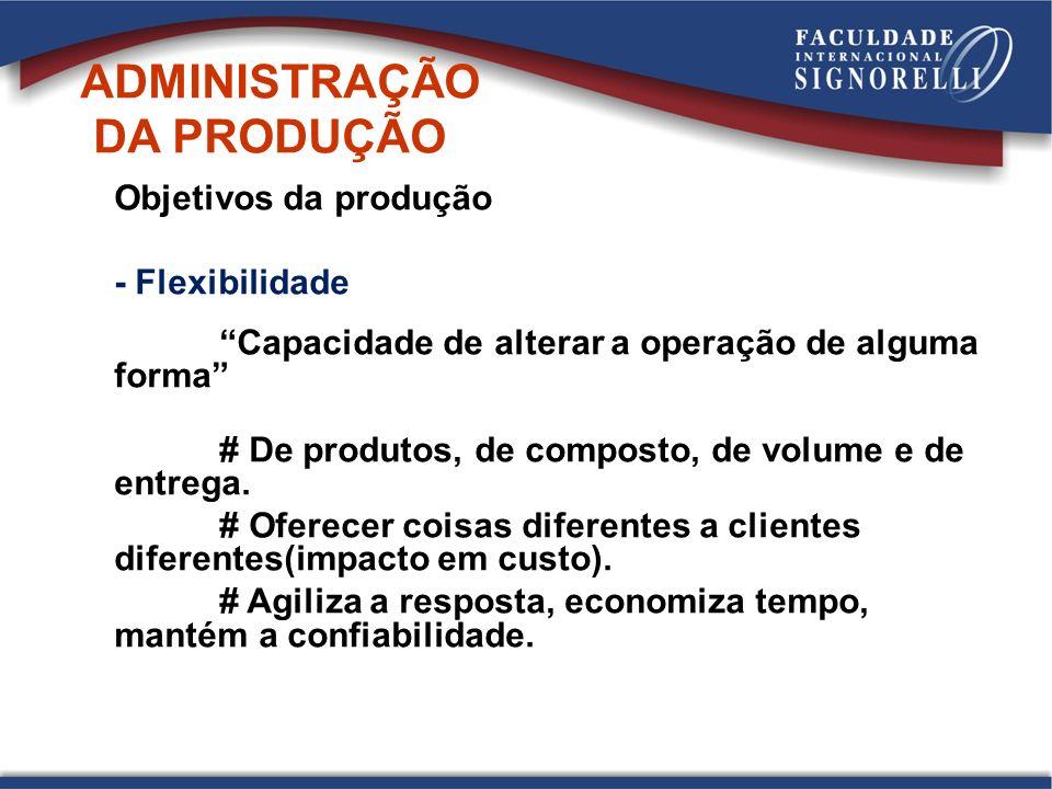 Objetivos da produção - Flexibilidade Capacidade de alterar a operação de alguma forma # De produtos, de composto, de volume e de entrega.