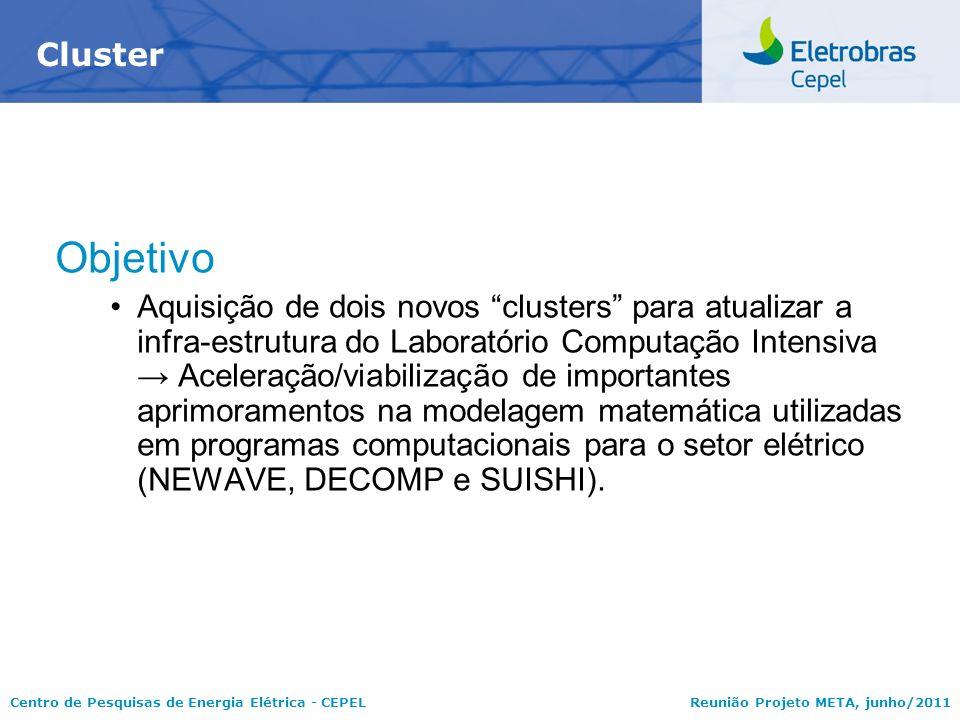 Centro de Pesquisas de Energia Elétrica - CEPELReunião Projeto META, junho/2011 Objetivo Aquisição de dois novos clusters para atualizar a infra-estru