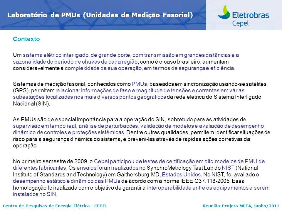 Centro de Pesquisas de Energia Elétrica - CEPELReunião Projeto META, junho/2011 Laboratório de PMUs (Unidades de Medição Fasorial) Contexto Um sistema