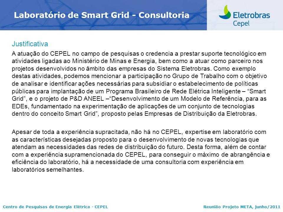 Centro de Pesquisas de Energia Elétrica - CEPELReunião Projeto META, junho/2011 Laboratório de Smart Grid - Consultoria Justificativa A atuação do CEP
