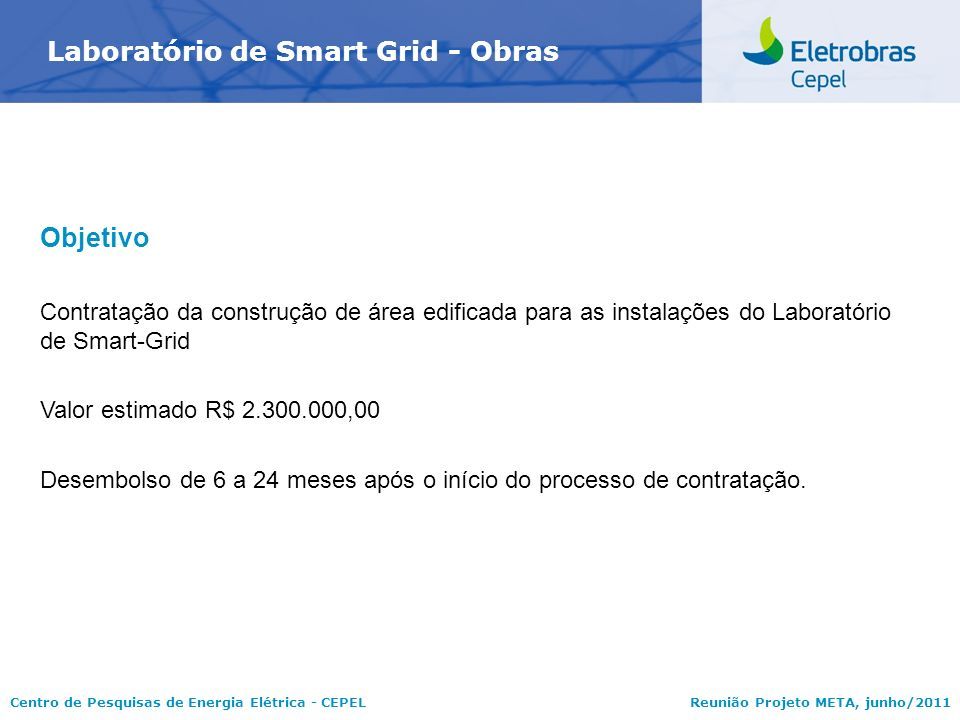 Centro de Pesquisas de Energia Elétrica - CEPELReunião Projeto META, junho/2011 Laboratório de Smart Grid - Obras Objetivo Contratação da construção d