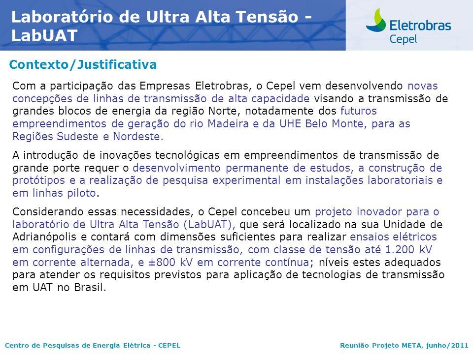 Centro de Pesquisas de Energia Elétrica - CEPELReunião Projeto META, junho/2011 Contexto/Justificativa Laboratório de Ultra Alta Tensão - LabUAT Com a