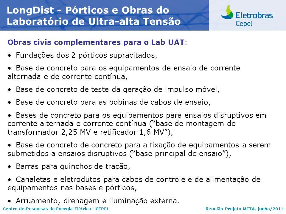 Centro de Pesquisas de Energia Elétrica - CEPELReunião Projeto META, junho/2011 LongDist - Pórticos e Obras do Laboratório de Ultra-alta Tensão Obras
