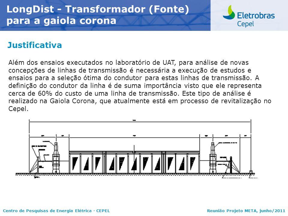 Centro de Pesquisas de Energia Elétrica - CEPELReunião Projeto META, junho/2011 Justificativa LongDist - Transformador (Fonte) para a gaiola corona Al