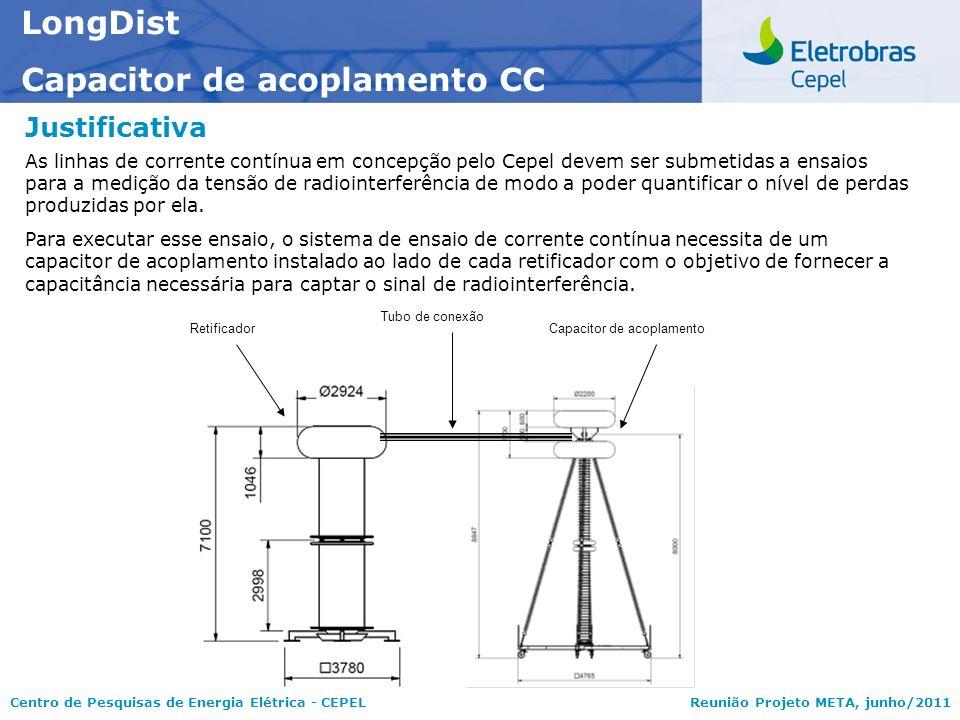 Centro de Pesquisas de Energia Elétrica - CEPELReunião Projeto META, junho/2011 Justificativa LongDist Capacitor de acoplamento CC As linhas de corren