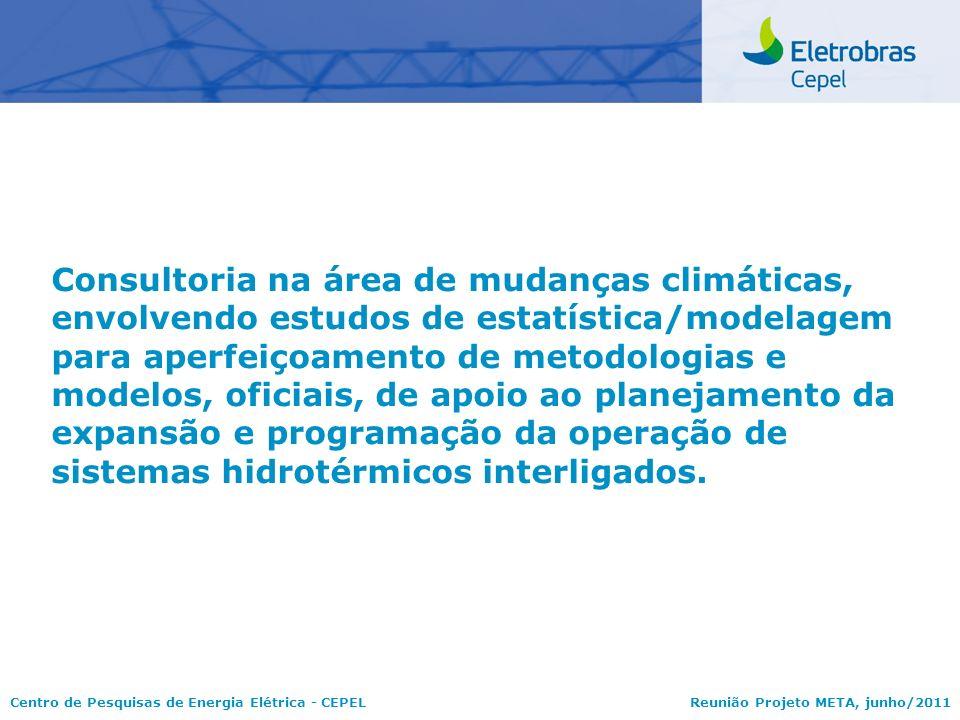 Centro de Pesquisas de Energia Elétrica - CEPELReunião Projeto META, junho/2011 Consultoria na área de mudanças climáticas, envolvendo estudos de esta