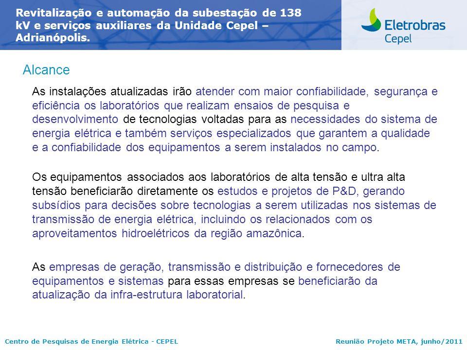 Centro de Pesquisas de Energia Elétrica - CEPELReunião Projeto META, junho/2011 Alcance As instalações atualizadas irão atender com maior confiabilida