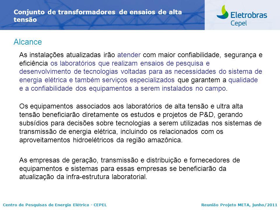 Centro de Pesquisas de Energia Elétrica - CEPELReunião Projeto META, junho/2011 Conjunto de transformadores de ensaios de alta tensão Alcance As insta
