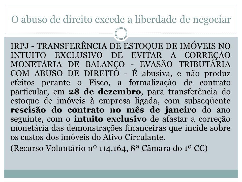 O abuso de direito excede a liberdade de negociar IRPJ - TRANSFERÊNCIA DE ESTOQUE DE IMÓVEIS NO INTUITO EXCLUSIVO DE EVITAR A CORREÇÃO MONETÁRIA DE BALANÇO - EVASÃO TRIBUTÁRIA COM ABUSO DE DIREITO - É abusiva, e não produz efeitos perante o Fisco, a formalização de contrato particular, em 28 de dezembro, para transferência do estoque de imóveis à empresa ligada, com subseqüente rescisão do contrato no mês de janeiro do ano seguinte, com o intuito exclusivo de afastar a correção monetária das demonstrações financeiras que incide sobre os custos dos imóveis do Ativo Circulante.