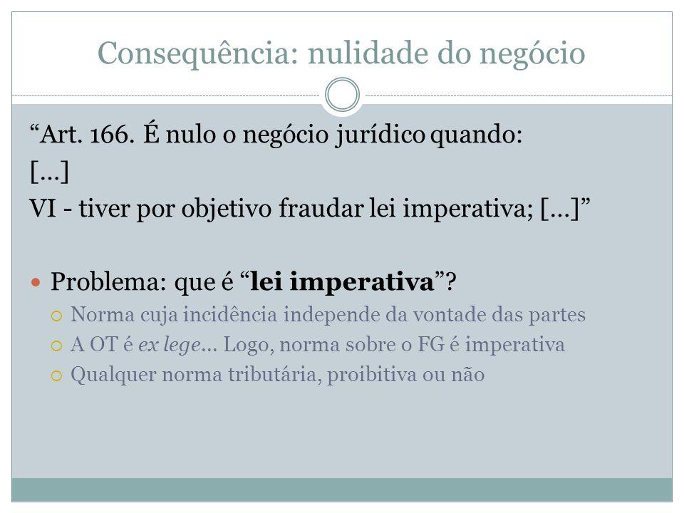Consequência: nulidade do negócio Art. 166. É nulo o negócio jurídico quando: […] VI - tiver por objetivo fraudar lei imperativa; […] Problema: que é