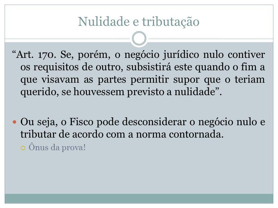 Nulidade e tributação Art.170.