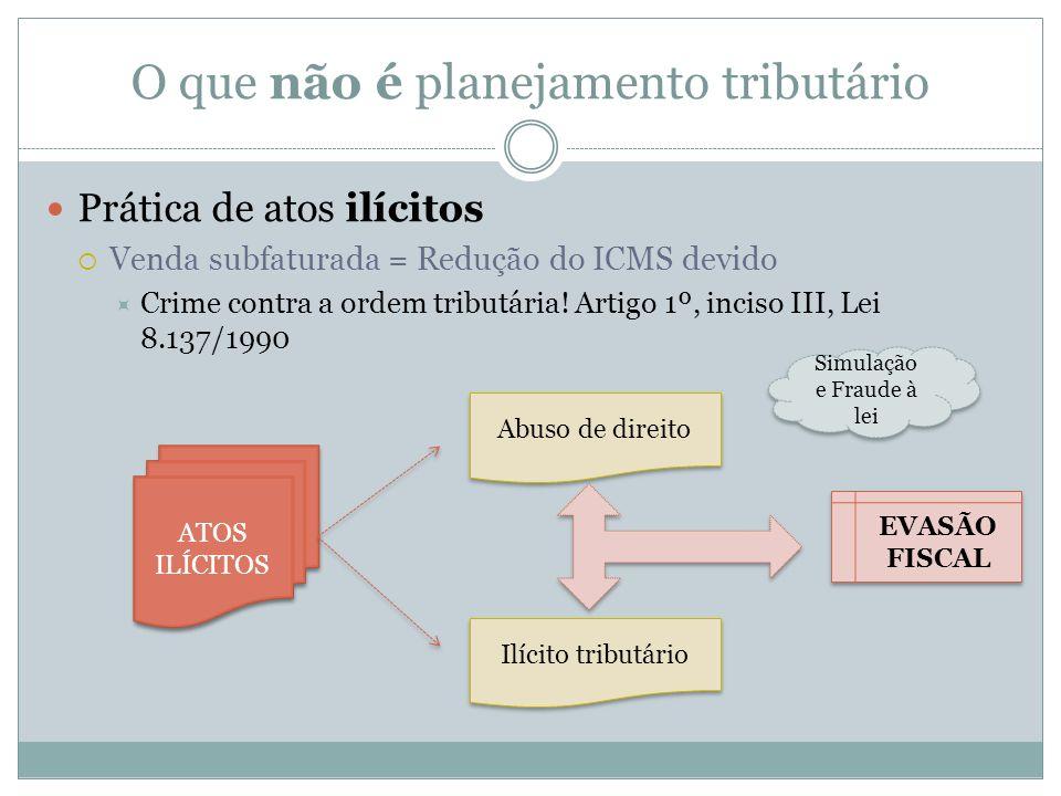 O que não é planejamento tributário Prática de atos ilícitos Venda subfaturada = Redução do ICMS devido Crime contra a ordem tributária! Artigo 1º, in